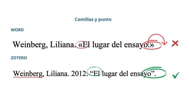 Word utiliza las comillas angulares, que no usamos en Latinoamérica, y coloca el punto dentro de las comillas, también erróneo