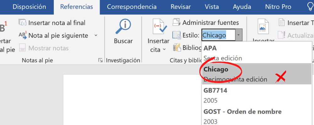 El gestor de Word en Windows usa la edición 15a de Chicago, ya desactualizada