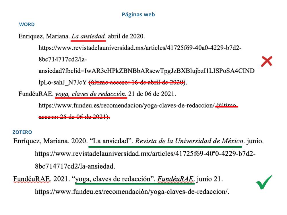 Comparación de páginas web en Word vs Zotero