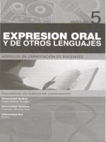 Módulos de Capacitación de Docentes. Módulo 5: Expresión oral y de otros lenguajes