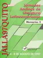 Memorias de las Jornadas Andinas de Literatura Latinoamericana, JALLA97Quito