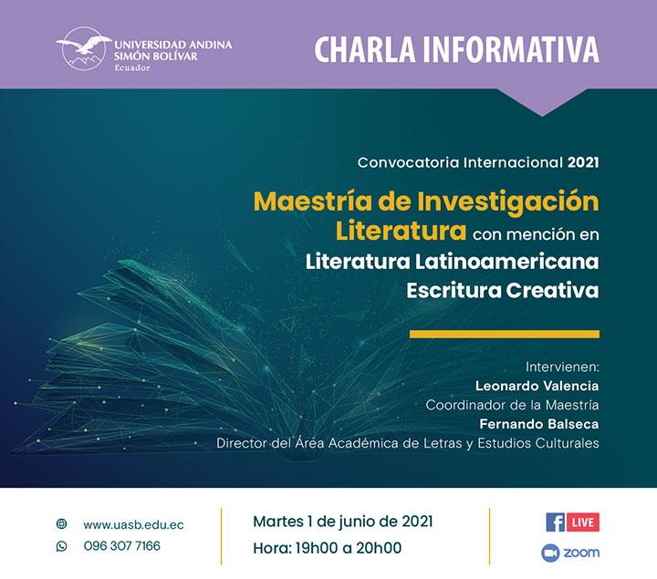 Charla informativa sobre la Maestría de Investigación en Literatura