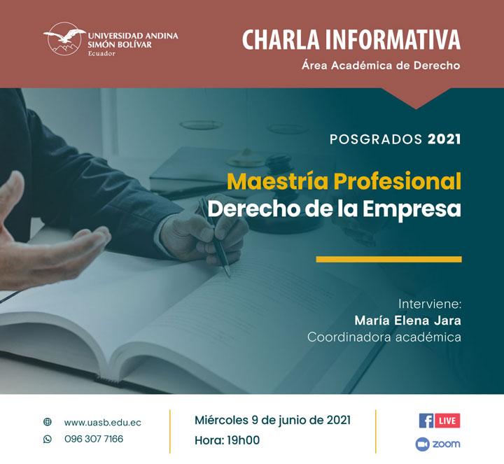 Charla informativa sobre la Maestría Profesional en Derecho de la Empresa