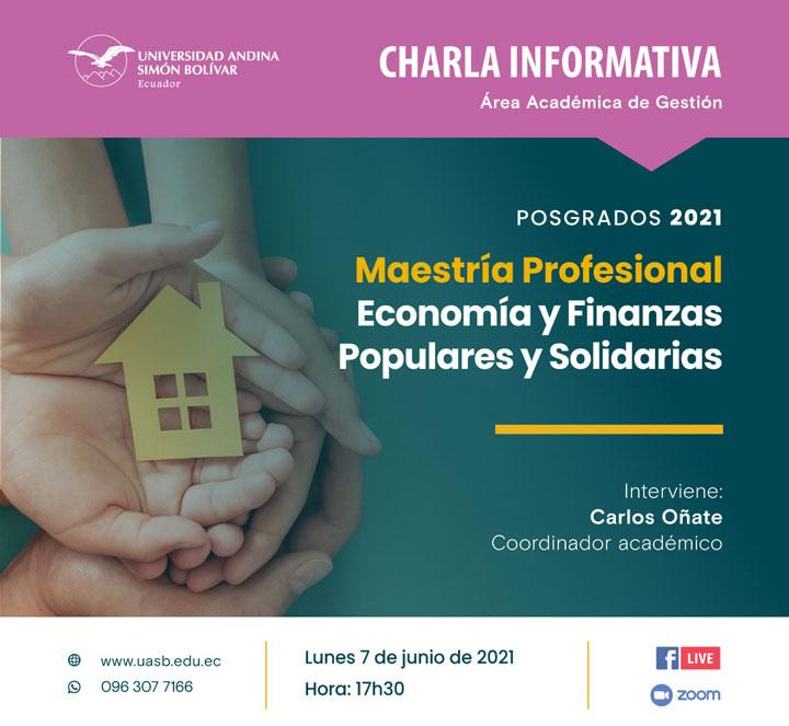 Charla informativa sobre la Maestría Profesional en Economía y Finanzas Populares y Solidarias