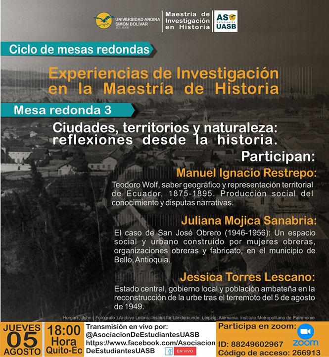 """Mesa redonda """"Ciudades, territorios y naturaleza: reflexiones desde la historia"""""""