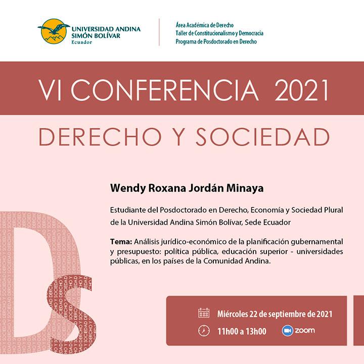 VI Conferencia Derecho y Sociedad 2021