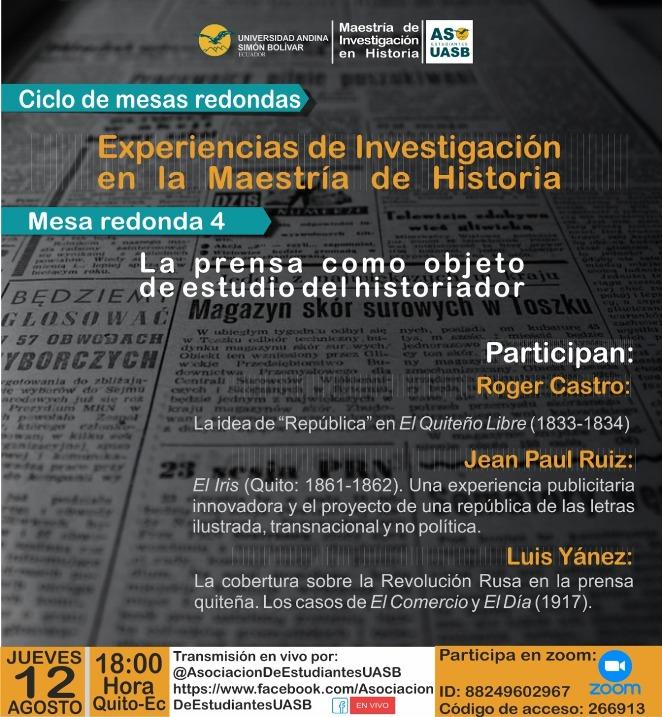 """Mesa redonda """"La prensa en la historia social de Ecuador y Colombia"""""""