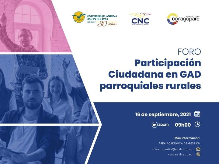 """Foro """"Participación Ciudadana en GAD parroquiales rurales"""""""